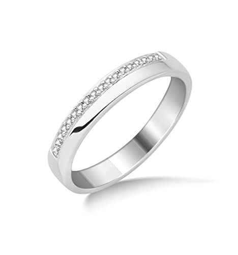 Miore 9ct White Gold Diamond Set Wedding Band Eternity Ring SA958R