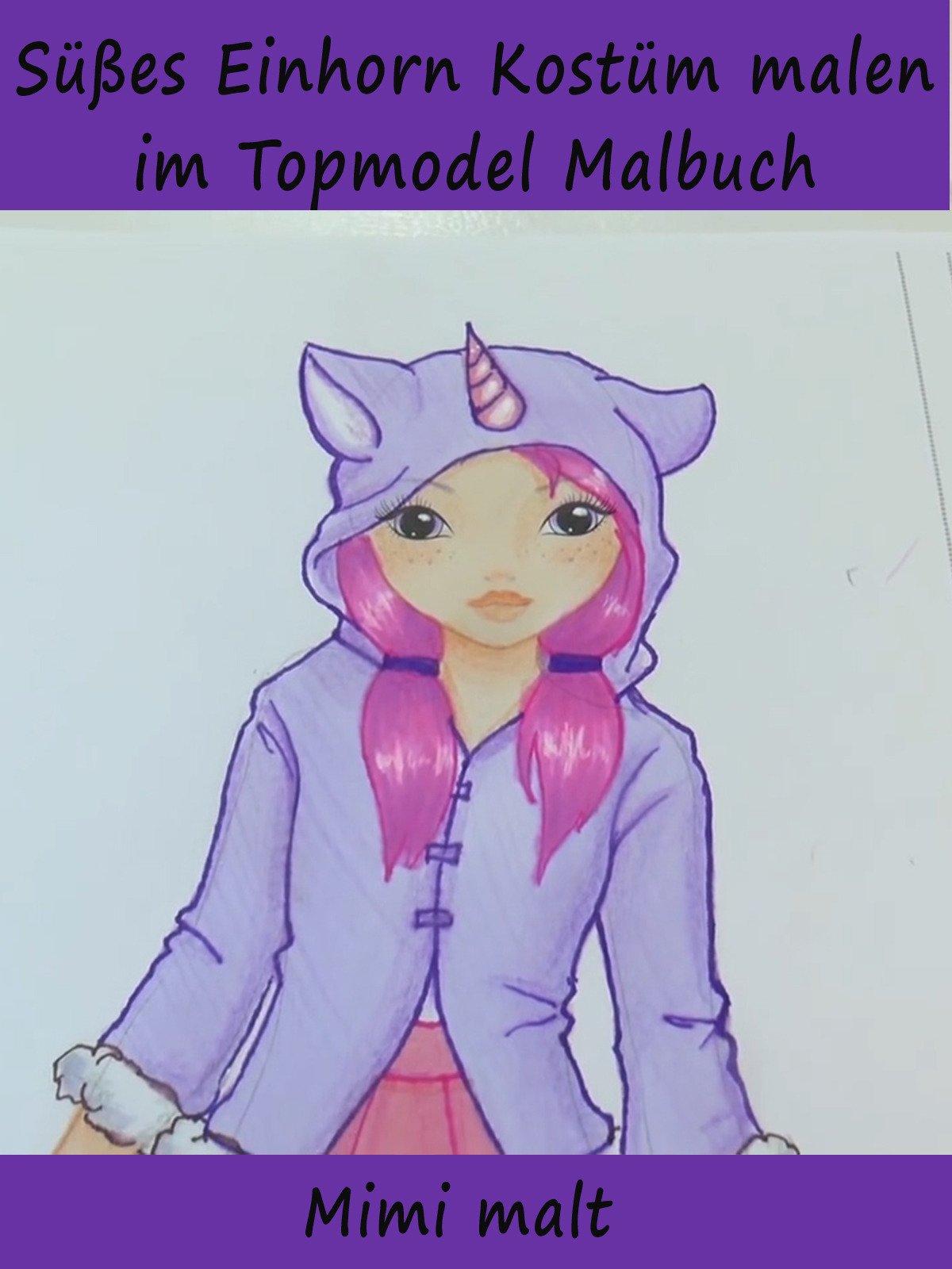Süßes Einhorn Kostüm malen im Topmodel Malbuch