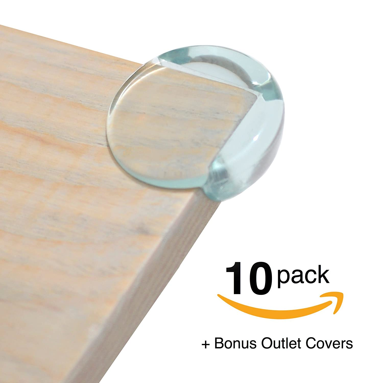 FitFabHome 10 Pack Premium Clear Corner Guards | BONUS ELECTRICAL OUTLET COVERS 6 PACK | Strong 3M Brand Adhesive | Baby-Proof And Protect Your Children From Sharp Corners On Tables, Desks, Furniture