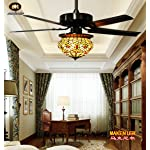Makenier Vintage Tiffany Style Stained Glass Lotus Single-light Lampshade Ceiling Fan Light Kit, with Metal Blades