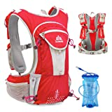TRIWONDER Hydration Pack Backpack 12L Professional Outdoors Mochilas Trail Marathoner Running Race Hydration Vest (Red - with 2L Water Bladder) (Color: Red - with 2L Water Bladder, Tamaño: Large)