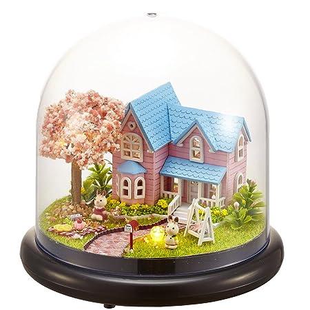 Mini verre bricolage Dollhouse en bois Kit Assemblage modèle 3d Puzzle Décoration de maison Afficher Creative Handicraft Jouets Bâtiment cadeau pour enfant(Fleurs de cerisier Rendez-vous)