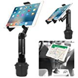 Cup Holder Tablet Mount, Tablet Car Mount Holder Made by Cellet with a Cup Holder Base for iPad Mini/Air 2 /Air/iPad 4/3/2 Samsung Galaxy Tab 4/3 and More - Holds Tablets up to 9.7 Inches in Width (Color: Black)