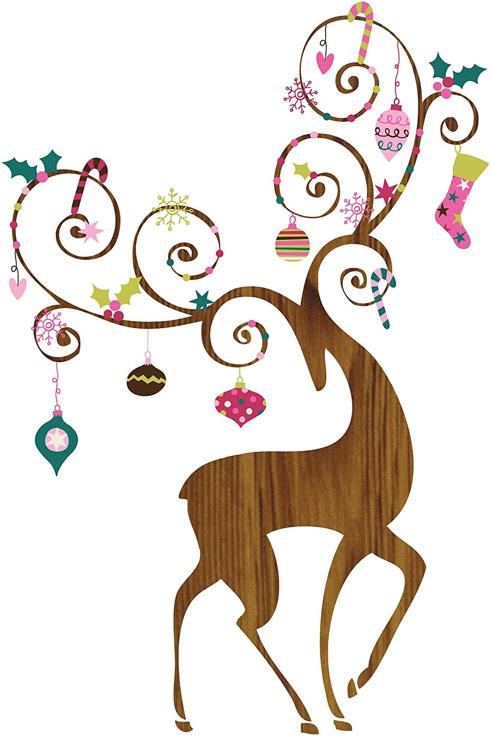 RoomMates RMK2493GM Ornamental Reindeer Peel and Stick Giant Wall Decals, 1-Pack