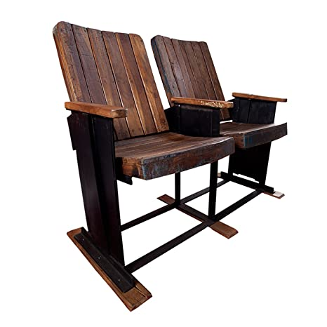 Original Kinositz CINEMA 2-Sitzer aus recyceltem Holz Unikat Sitz Stuhl Zweisitzer