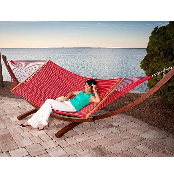 Prime Garden Sunbrella Fabric Hammock,14 Feet Wood Arc Hammock Stand,Backyard Setting,Elegant Red Stripe