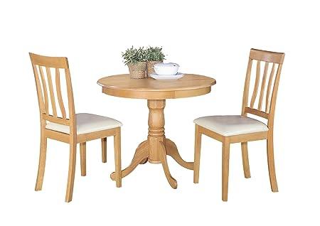 East West Furniture ANTI3-OAK-LC 3-Piece Kitchen Table Set, Oak Finish