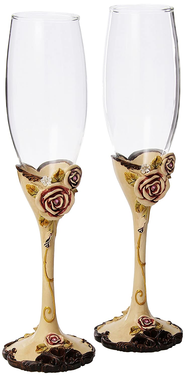 Elegant Vintage Rose Wedding Toasting Flutes