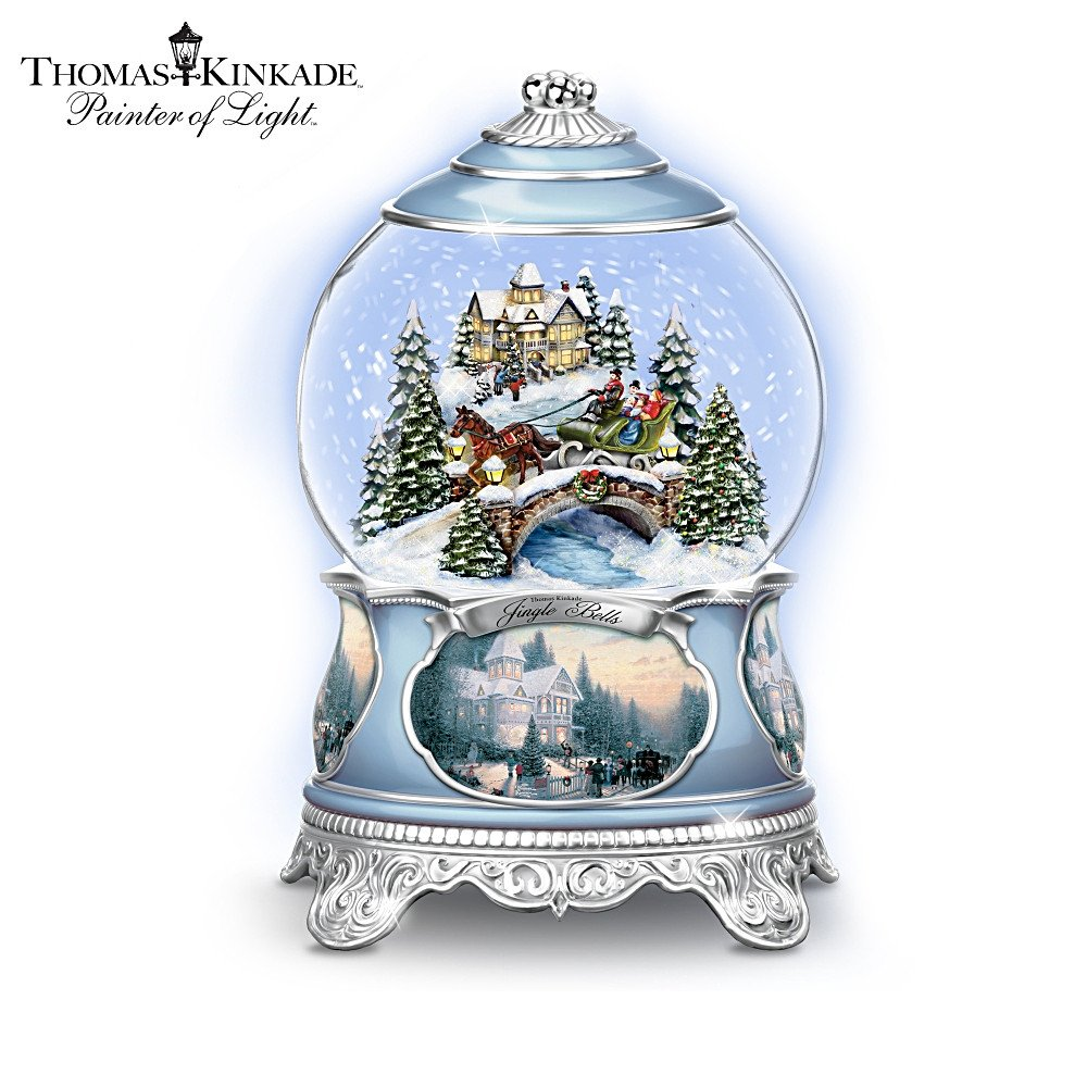 Thomas Kinkade Jingle Bells Christmas Musical Snowglobe