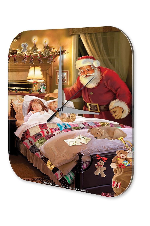 Wanduhr Weihnachtsdeko Retro Wand Deko Marke Weihnachtsmann schlafende Kinder Dekouhr 25×25 cm jetzt bestellen