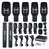 ammoon TAKSTAR DMS-D7 Drum Set Wired Microphone Mic Kit with Standard Mounting Accessories Carrying Case 1 Big Drum Microphone 4 Small Drum Microphones 2 Condenser Microphones