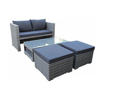 4-tlg. Lounge-Set mit Polster- und Dekorationskissen in grau aus grauem Polyrattan mit Sofa, Tisch und 2 Hockern