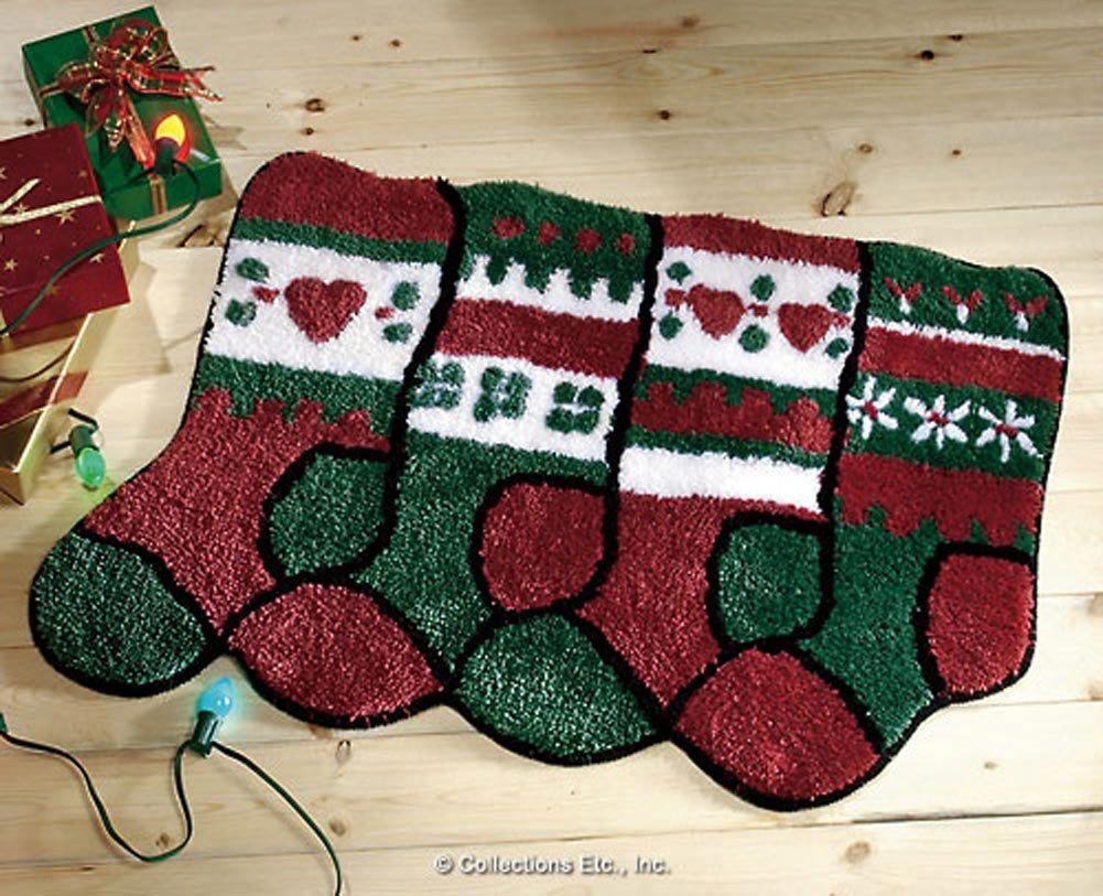 Christmas Stocking Holiday Accent Rug