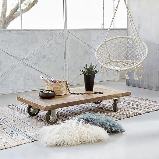 Table basse en teck en bois de recyclé DAKOTA - 120 x 60 cm