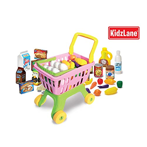 Durable Toy Shopping Cart for Kids and Toddlers with 25 Grocery Items & Play Money with Detachable Shopping Basket