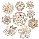 Lot 9pcs Gold-tone Rhinestone brooches, eGlomart Big Pearl Crystal wedding bouquet kit set
