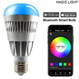 MagicLight Pro Bluetooth Smart LED Light Bulb - Smartphone Controlled Sunrise Wake Up LED Lights - Dimmable Multicolored Color Changing Party Lights Bulb - 80w Equivalent (Color: Grey, Tamaño: 80 Watt Equivalent (Multicolor))