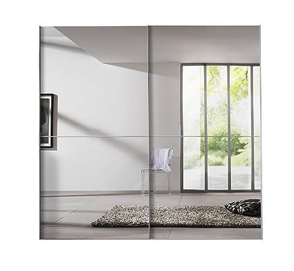 Solutions 04270-070 Solutions Schwebeturenschrank, 2-turig, 225 x 216 x 68 cm, Polarweiß / Spiegel, Griffe alufarben