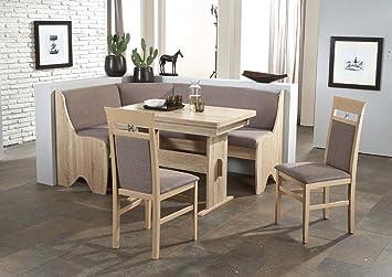 Dreams4Home Eckbankgruppe 'Pago' Essgruppe 166 x 126 x 87 cm Tisch 2 Stuhle modern Sonoma Eiche grau-braun Eckbank Kuchentisch 4-teilig Landhaus Kuche