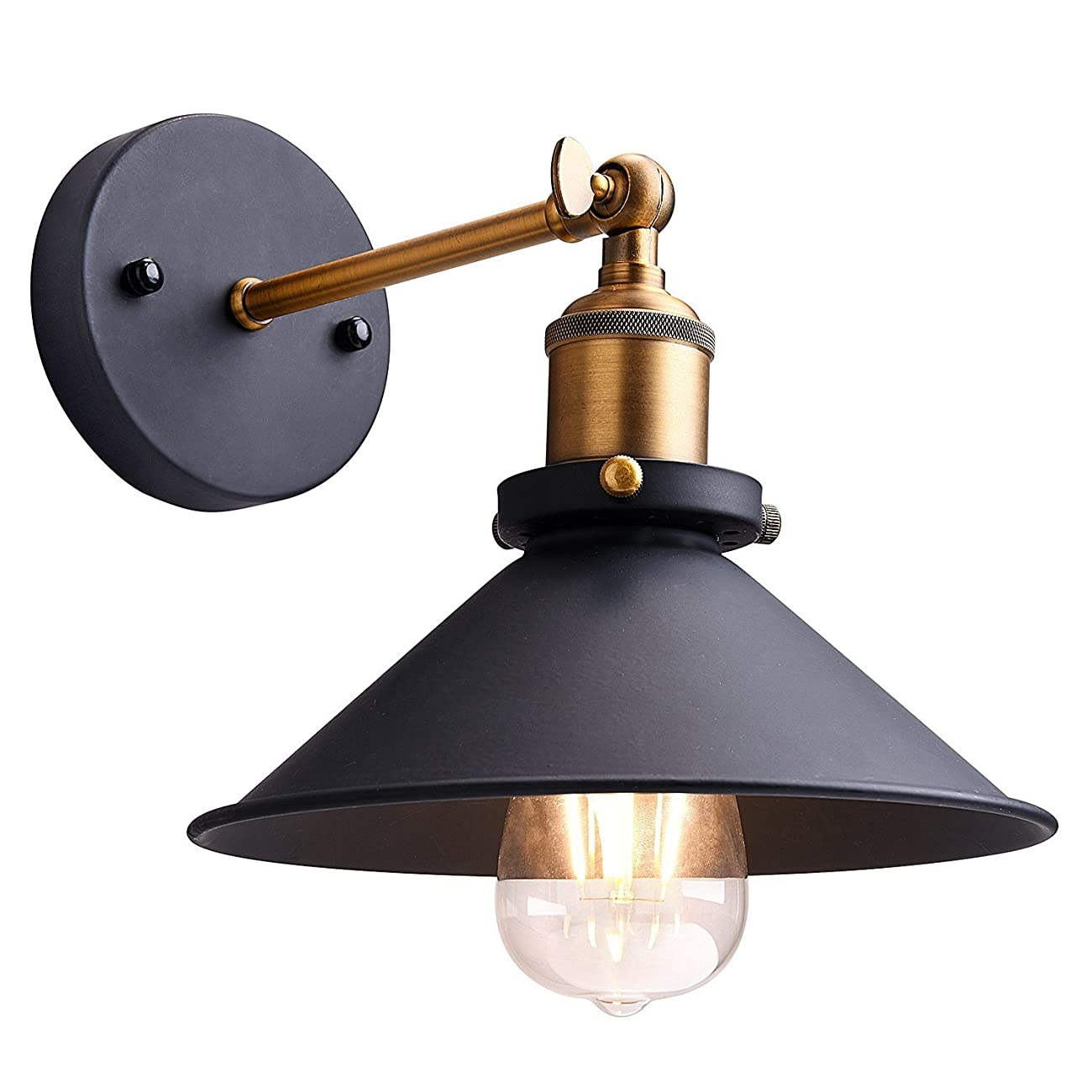 Sanyi Vintage Wall Light Fixture Industrial Edison Simplicity 1 Light Wall Mount Light Aged Steel Finished Wall Sconces 0