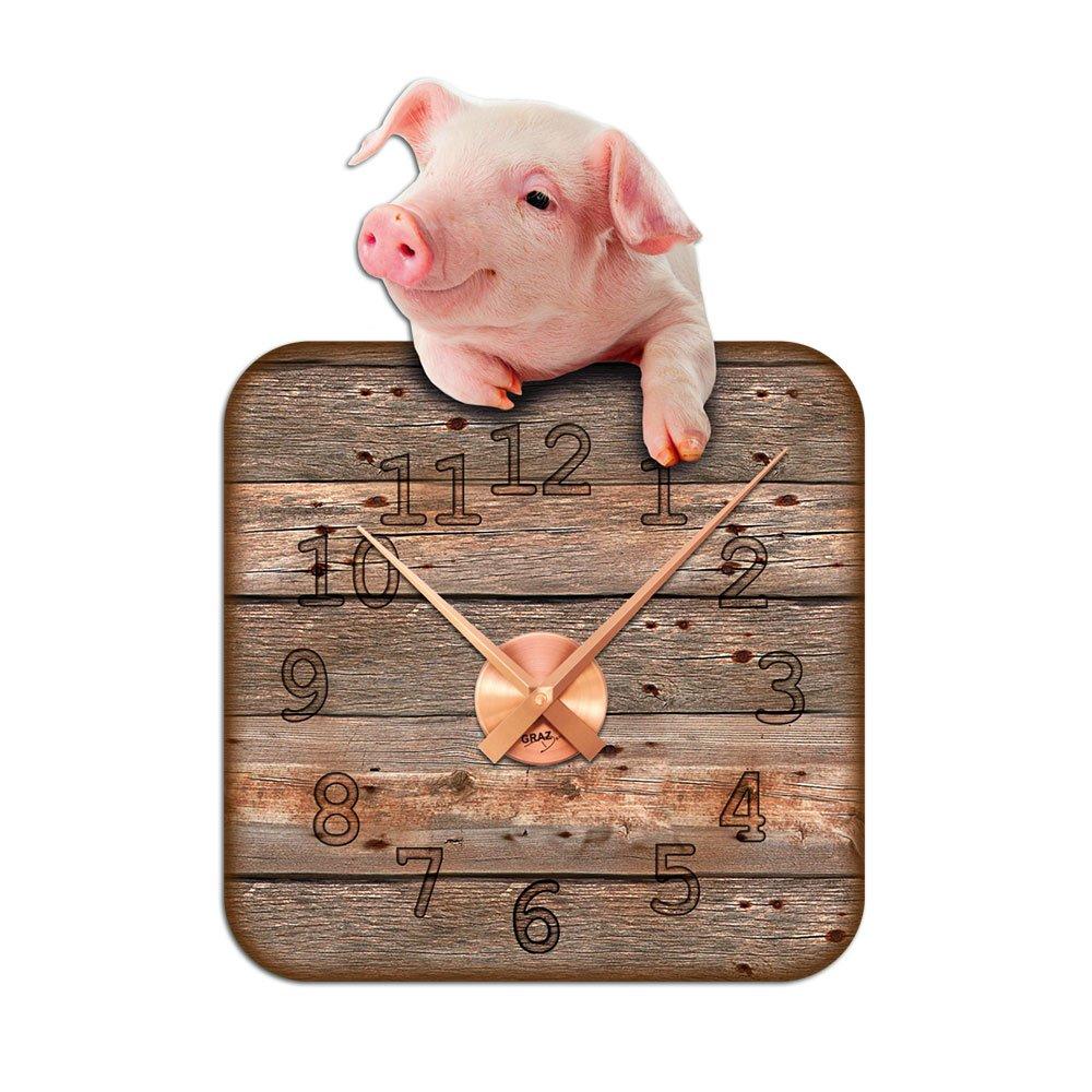 Wandsticker Uhr mit Uhrwerk Wanduhr Kinderzimmer Schwein Glück Holz Brett (Uhr Silber gebürstet ) jetzt bestellen