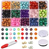 Fishdown 330 Pcs 8mm Beads Kit Chakra Beads Lava Beads Rock Stone Assortment Colored Volcanic Stone Loose Beads Zinc Alloy Spacer Beads for Bracelets Jewelry Making (Color: Color1, Tamaño: 330 pcs)