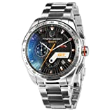Pagani Design Black Dial Motor Sport Diving Mens Multifunction Tachymetre Chronograph Silver Wrist Watch (Color: Black, Tamaño: Men's standard)