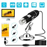 USB Digital Microscope, VSATEN 3 in 1 50 to 1000x Magnification Endoscope with 2.0MP Camera 8 LEDs Stand Holder for Android Phone Tablet, Windows & MacBook OS Computer (Black) (Color: USB Digital Microscope)