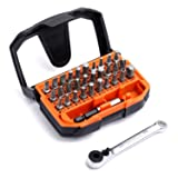 Tacklife 32pcs 1/4 Mini Ratchet Screwdriver Bit Set, Extension Bit Holder and Socket Adapter Included, High Torque 72-Tooth Gearhead, 30 Multi Bits f