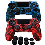 MXRC Silicone rubber cover skin case anti-slip Water Transfer Customize Camouflage for PS4/SLIM/PRO controller x 2(red & blue) + FPS PRO extra height thumb grips x 8 (Color: Print 2 Pack Red Blue, Tamaño: Print Pack)