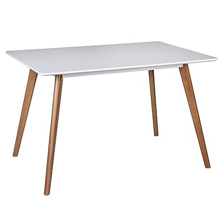 Wohnling rétro salle à manger sCANIO mDF mat pieds chêne 120 x 80 x 75 cm blanc