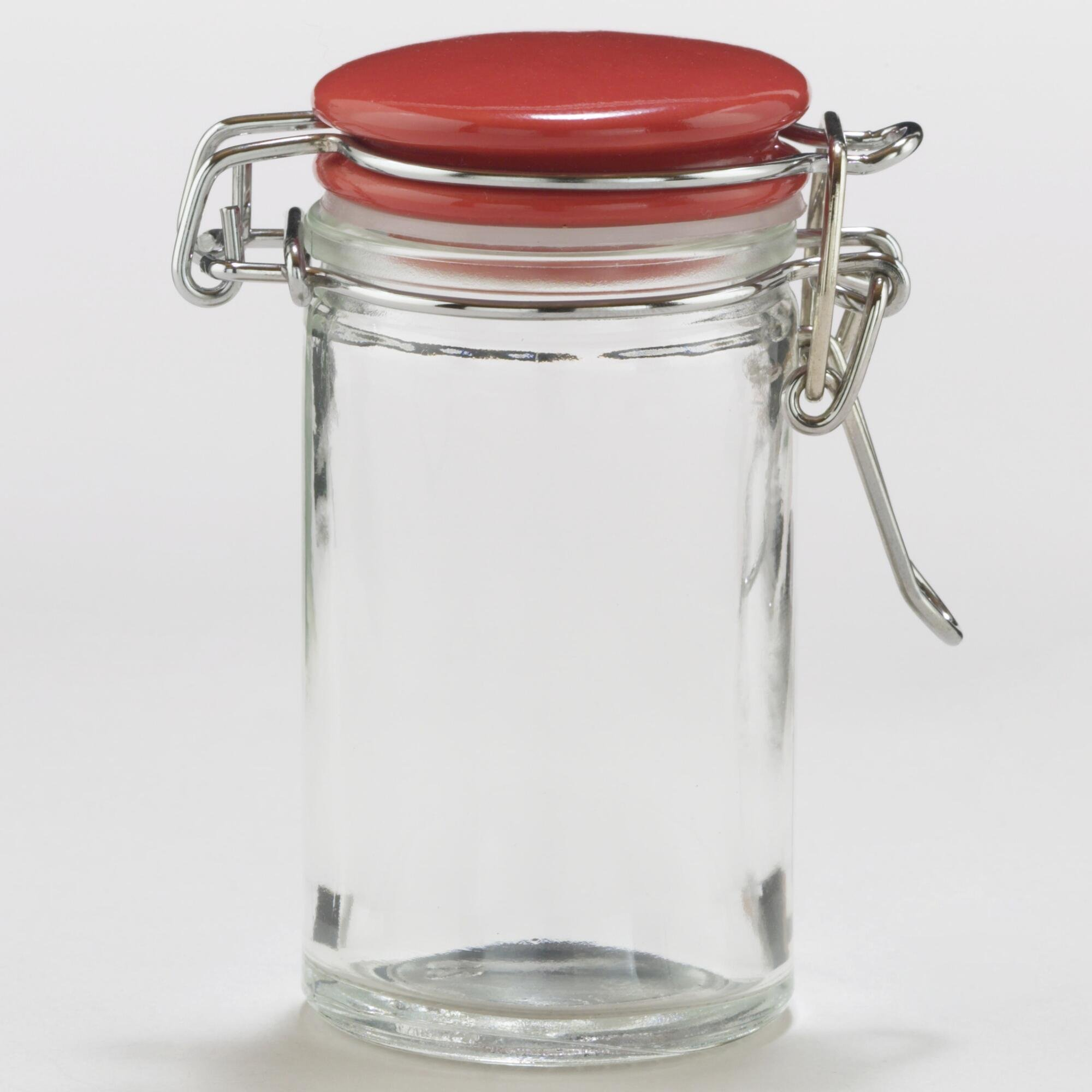 Spice Jars With Red Ceramic Lids 3 0 Oz Capacity Tall Airtight Seals Ebay