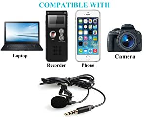 Lavalier Lapel Microphone,Iphone Microphone with Easy Clip on System Perfect for Recording Youtube Vlog Interview/Video Conference/Podcast | Best Lapel Mic for iPhone iPad Android (Color: lapel mic, Tamaño: Lavalier Mic)