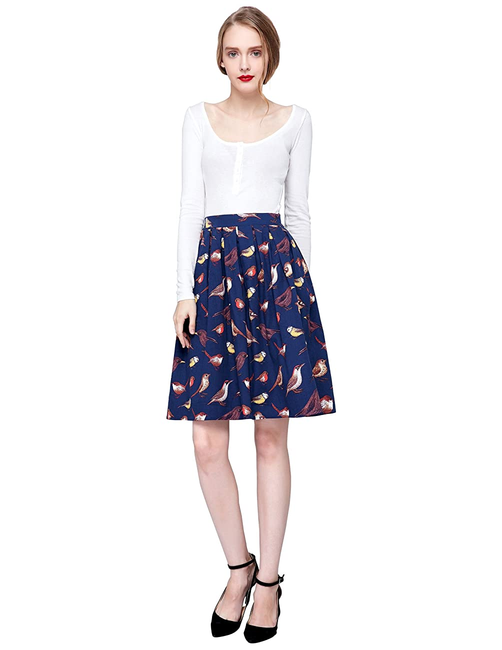 GRACE KARIN Women Pleated Vintage Skirts Floral Print CL6294 (Multi-Colored) 2