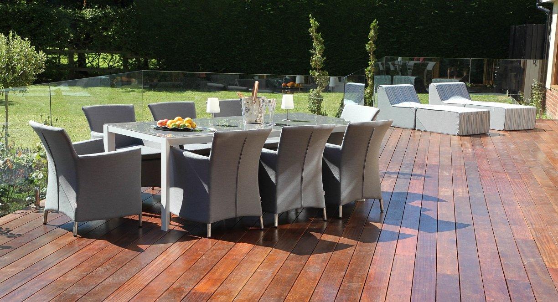 Stoff Lucia Outdoor Garten Möbel Esstisch Set Stühle