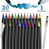 PuTwo Watercolor Brush Pens 20 Colors Calligraphy Pen 100% Non-Toxic Odorless Watercolor Pens for Painting Manga Comic Coloring Books Paint Markers Set- with 1 Free Water Paintbrush Felt Tip Pen (Color: 20 Colors, Tamaño: 20 Calligraphy Brush Pens & 1 Freestyle Markers)