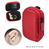Designed Protective Case for Hearing Aid, Hearing Amplifier, Personal Sound Amplifier, Hearing Device, Listening Device, Strong Mini Case with Mesh pocket, Universal design (Ballistic Red) (Color: Ballistic Red)