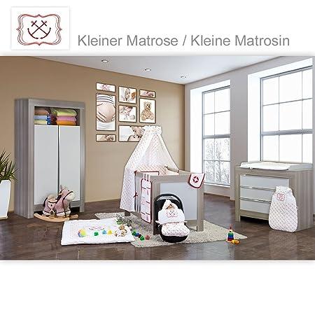 Babyzimmer Felix in akaziengrau 21 tlg. mit 2 turigem Kl. + Kleine Matrosin in Rot