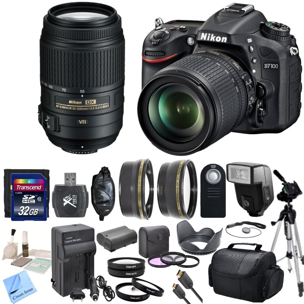 Nikon D7100 24.1 MP DX-Format CMOS Digital SLR With Nikon 18-105mm f/3.5-5.6 AF-S DX VR ED Nikkor Lens & Nikon 55-300mm f/4.5-5.6G ED VR AF-S DX Nikkor Zoom Lens & CS Premium Package: Includes High Speed 32GB SDHC Memory Card ..
