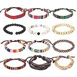 Forever & Ever Wrap Bead Tribal Leather Bracelet - 12 Pack Boho Hemp String Bracelet for Men Women Girls (Color: 12 Pack)
