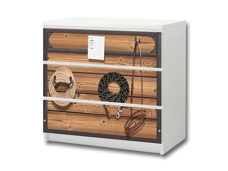 """""""Pferdewelt"""" Möbelsticker / Aufkleber – M3K22 – passend für die Kommode mit 3 Fächern / Schubladen MALM von IKEA – Bestehend aus 3 passgenauen Kinderzimmer Möbelfolien (Möbel nicht inklusive) günstig"""