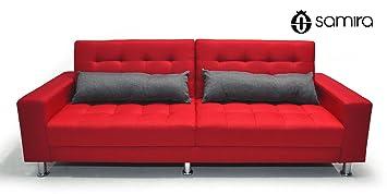 Sofá cama de tejido rojo - Sofà tres plazas - mod. Giulia con almohadas