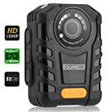 Police Body Camera for Law Enforcement: Wearable Video + Audio Body Worn Camera with Night Vision for Security Guards, Police Officers, and Personal Use [Records in Full HD + Waterproof]