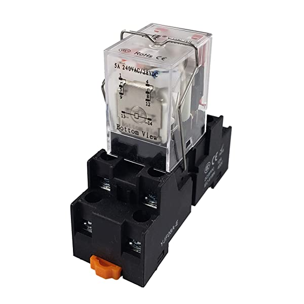 API-ELE [ 3 Year Warranty] 12V AC Electromagnetic Power Relay MY2NJ HH52P Coil 2PDT 2NO+2NC 8 Pins 5A with Indicator Light With Base (12V AC)