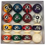 GSE Games & Sports Expert 2 1/4-Inch Regulation Size Dark Marble Swirl Style Billiard Pool Ball Set (Color: Dark Marble Swirl)