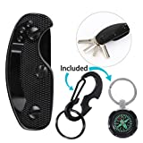 Carbon Fiber Key Organizer, 1Pcs Smart Aluminum Pocket Keychain Holder Compact Keys Holder for Key, EDC Gear, Knife Blade, Key Tags, Black (Color: Black, Tamaño: Default)