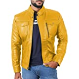 Laverapelle Men's Yellow Genuine Lambskin Leather Jacket - 1501138-5XL (Color: 16c- Yellow - With Color Cotton Lining, Tamaño: XXXXX-Large)