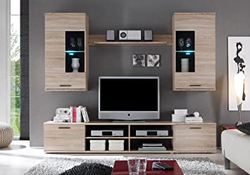 Hbz wohnwand frontal 2 in eiche sonoma design inklusive beleuchtung