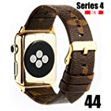 GOKE PU Vegan Leather Watch Band Brown Flower Printed Luxury Strap Ceplacement for 44mm Apple iWatch Series 4 (Brown Flower 44mm) (Color: Brown band+Glod Connector 40mm, Tamaño: Brown Flower 44mm)