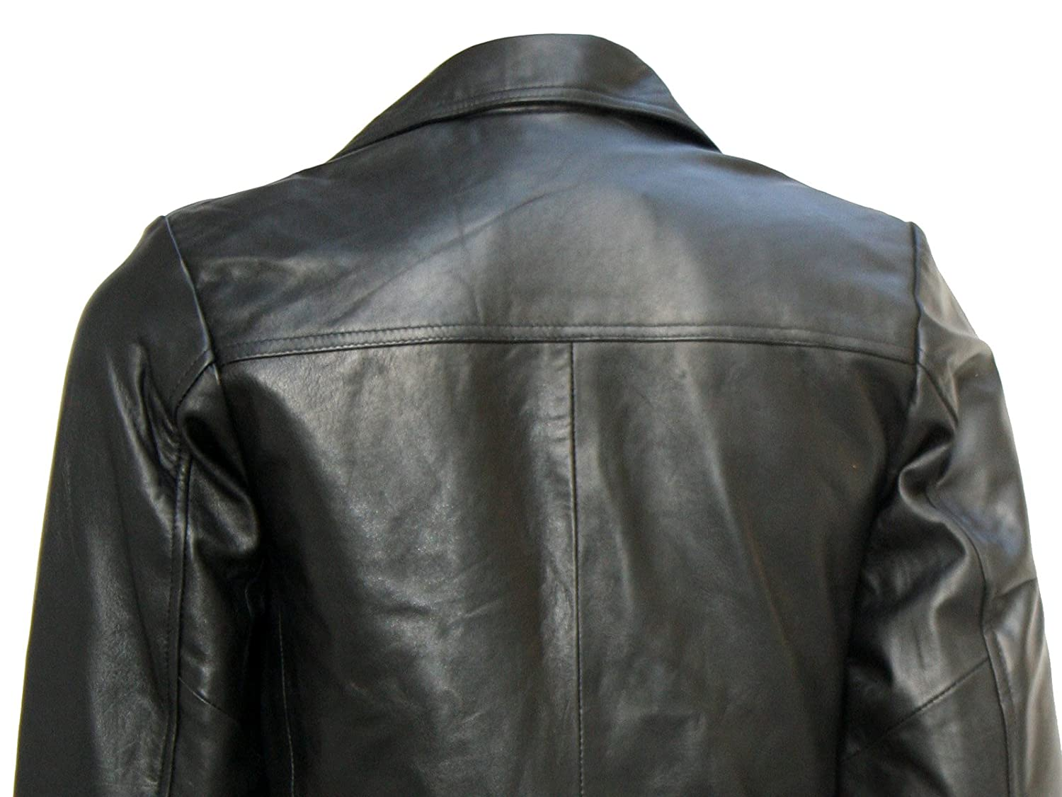 Xport Design's Men's Two Button Mission Black Blazer Leather Jacket